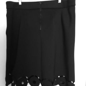 Plus Size Black Neoprene Skirt with Laser Cut Hem